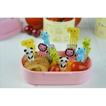 10pcs/set Animal Farm Mini Cartoon Fruit Fork Sign Resin Fruit Toothpick Bento Lunch for Children Decorative Plastic Sign