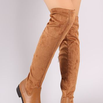 Bamboo Suede Almond Toe Beaded Trim OTK Riding Boot