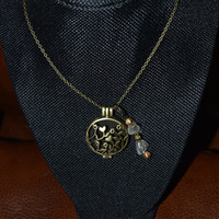 Aromatherapy/Essential Oil Bronze Diffuser Necklace w/