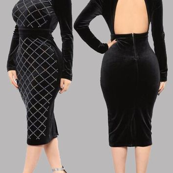Black Plaid Rhinestone Backless Cut Out Bodycon Band Collar Cocktail Party Midi Dress