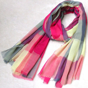 Multi Color Plaid Scarf