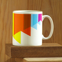Modern and bright coloured mug with exclusive multicoloured paper flags design