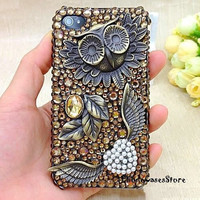 iphone 4 cases owl Iphone Case cover antique iphone case,owl iphone 4 cover,Brass owl iphone 4 case,iphone 4 hard cover, iPhone 5 case