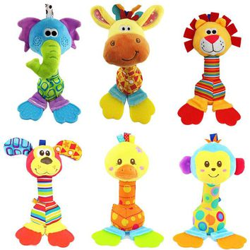 Happy Monkey 22cm Baby Rattle Stick Teether Stuffed Plush Doll Bibi BB Sound Bed hanging Toy Toys Puzzle Bell Ring Infant Puppet
