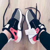 """""""Adidas"""" Equipment EQT Support ADV Black/Pink Trending Women Men Leisure Sports Running Shoes Sneakers"""
