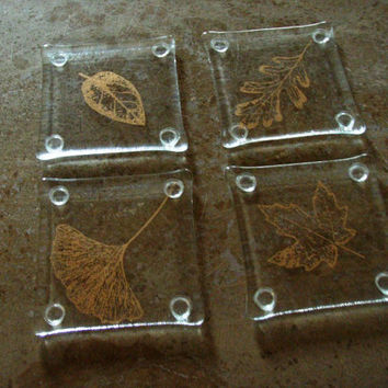 Fused Glass Coasters, Handmade Coasters, Leaf Coasters, Hostess Gift