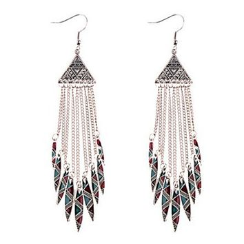 Silver Red and Teal Tribal Long Chain Dangle Earrings