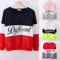 2016 Spring Autumn Winter Women Pullover Hoody Letters Different Printed Mix Color Casual Fleece Sweatshirts Sudaderas Mujer