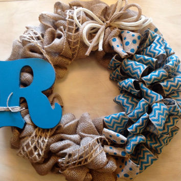 Spring Summer Chevron Burlap Monogram Wreath, Burlap Wreath, Monogram Wreath, Turquoise Chevron Burlap Wreath, Housewarming Gift, Door Wreat
