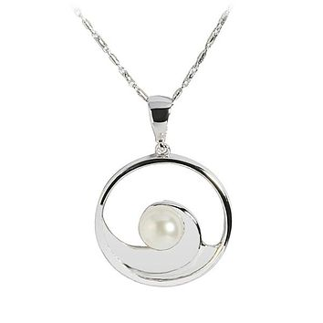 14K White Gold Wave Incircle Pendant w/Pearl(Chain Sold Separately)