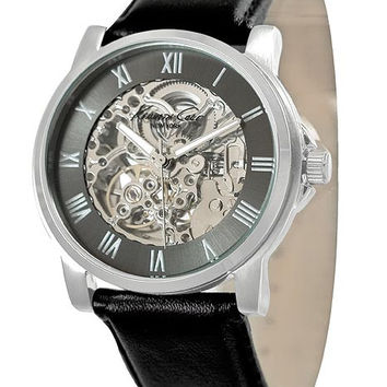 Kenneth Cole Mens Automatic - Steel Case - Gun-Metal Movement - Leather