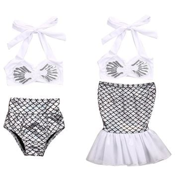 Kids Girls Mermaid Tail Bikini Trendy Lovely Cute  Swimsuit Swimwear Outfits Bathing Suit Costume