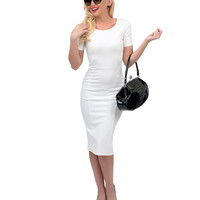 1960s Style White Short Sleeve Stretch Mod Wiggle Dress