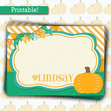 Cute Little Pumpkin Flat Thank You Card  | Baby Boy Pumpkin Shower | Fall Bright Colors Thank You note