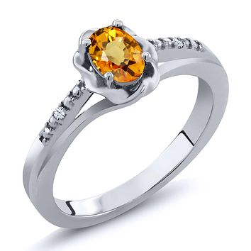 925 Silver Natural Yellow Sapphire Ring