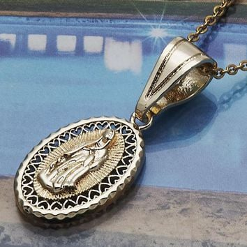 Gold Layered Women Guadalupe Religious Pendant, by Folks Jewelry