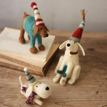 Felt Christmas Dogs (Set of 3)