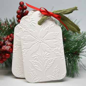 Embossed Poinsettia Tags Set of 10 Christmas Tags Embossed White Christmas Tags