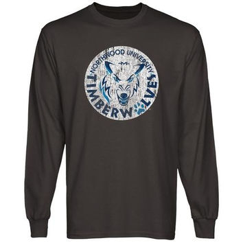 Northwood University of Michigan Timberwolves Distressed Primary Long Sleeve T-Shirt - Charcoal