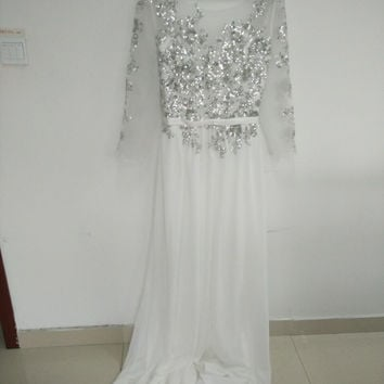 Closed Back Prom Dresses,White Prom Dress,Long Evening Dress