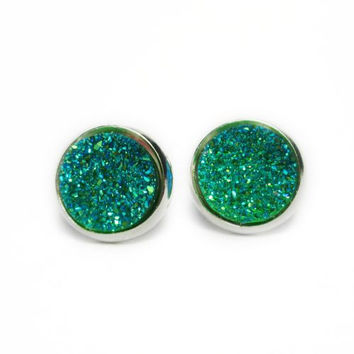 Mermaid Teal Druzy Earrings