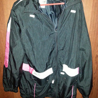 Vintage Retro Woman's 90s Black-Pink-White Nylon Jacket by Mariel - Size Medium -