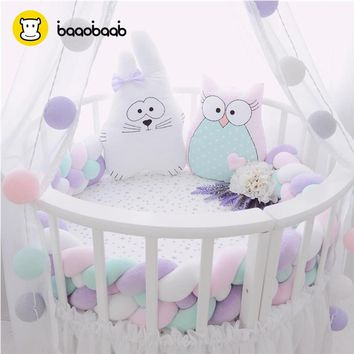 BAAOBAAB CW05 3 Meters Design Soft Baby Bed Bumper 4 Braid 3M Newborn Crib Pad Protection Bumpers Bedding Accessories for Infant