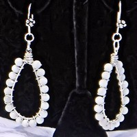Oval White Natural Stone Bead Earrings on Fish Hook Ear Wires
