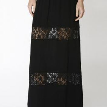 Paradise Dreams Lace Paneled Gauze Maxi Skirt in Black | Sincerely Sweet Boutique