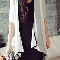 Contrast Color Collarless Long Sleeve Knitted Cardigan