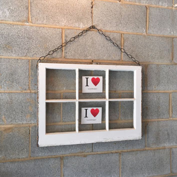Hanging Vintage 6 Pane Window Frame w/Chain - White, 27 x 20,  Rustic, Wedding, Engagement,  Beach Decor, Photos, Pictures, Home, Office