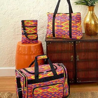 Travel Bag Set Aztec Southwest Print 3 Pc Weekend Overnight Duffel Tote Orange
