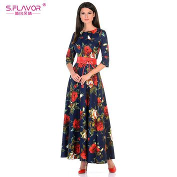 Printing dress Autumn Rose printing long Good quality Women Russian style casual autumn dress
