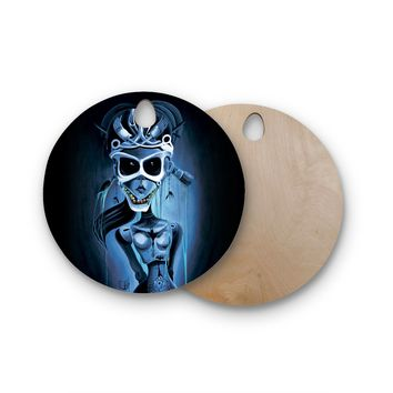 "Ivan joh ""Tattoo Girl"" Black Blue Pop Art Fantasy Illustration Painting Round Wooden Cutting Board"