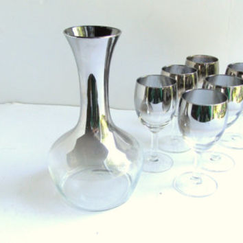Vintage Silver Ombre Wine Decanter with 6 Glasses