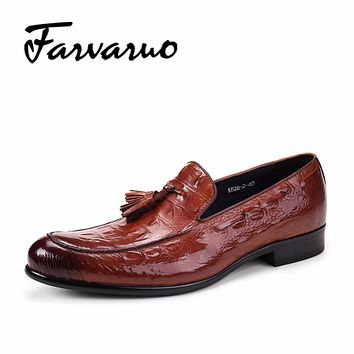 Farvarwo Luxury Men Wedding Shoes Slip Ons Crocodile Embossed Genuine Leather Men Formal Dress Shoes Tassels Penny Loafers Brown