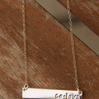 Silver CA Love Bar Necklace