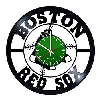 Baseball Team Symbols Design Vinyl Record Wall Clock - Gift Idea for youth or teens - Contemporary home wall art decoration