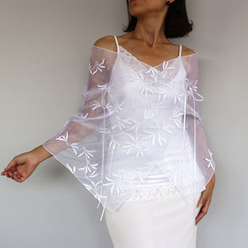 Wedding Dress Cover-up, Bridal Bolero Stole, White Organza Jacket Shrug, 3D Butterfly Leaf, Cape. Handmade