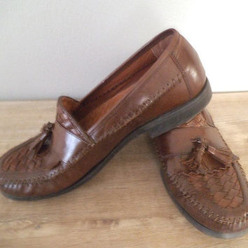 Men's 10 1/2 Brown Leather Tassel Loafers ~  Comfy Hush Puppies ~ Woven