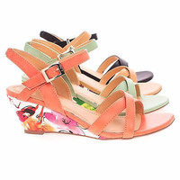 JoshuaSR Floral Printed Low Wedge Open Toe Strappy Sandal