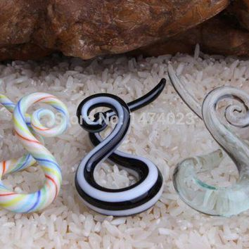 ac ICIKO2Q acrylic mix order Pyrex taper twist pair teal ear piercing gauge spiral ear Stretching kit