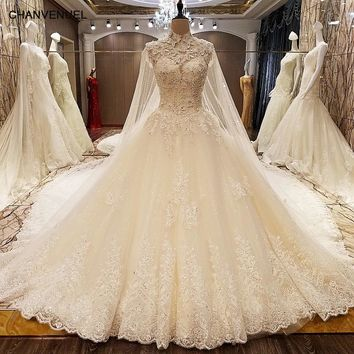 LS78479 wedding dresses turkey corset back beaded crystal ball gown luxury arab wedding dress with long train ivory real photos