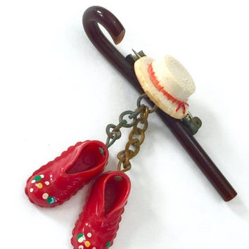 Celluloid Cane Hat and Shoes Dangle Brooch, 1930s 1940s, Straw Hat Dancing Shoes and Brown Cane, Vaudeville Era, Rigid Plastic