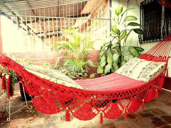 Red Hammock, Hand Woven Natural Cotton with Special Fringe