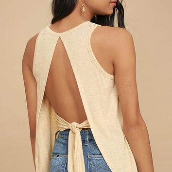 Impassioned Light Beige Tank Top