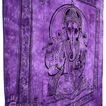 Lord Ganesha Hippie Tapestry,Hippie Wall Hanging,Indian Wall Hanging Throw Bedspread Bed Cover, Bohemian Tapestry, Ethnic Home Decor Ganesha