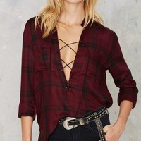 Nasty Gal Morgane Lace-Up Plaid Shirt