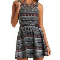 Tribal Woven Belted Skater Dress by Charlotte Russe