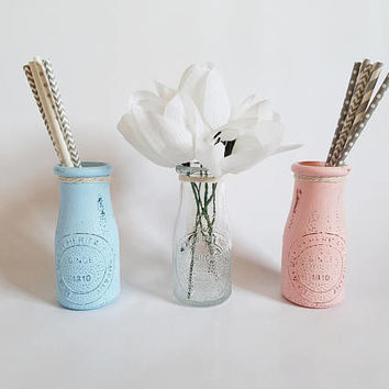 Gender Reveal Party - Baby Shower Decor - Gender Reveal Shower - Baby Reveal Gender Party - Milk Bottle Vase - Bud Vase - Baby Party Decor
